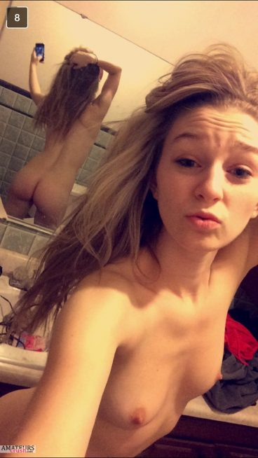 Nude teen snapchat self shot showing her tight ass in mirror