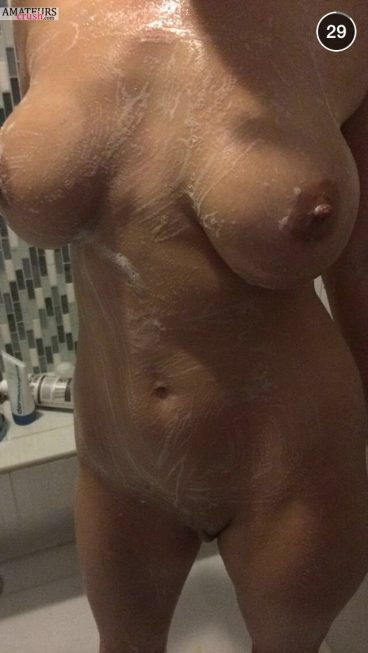 Soapy naked big breast girl shower selfie