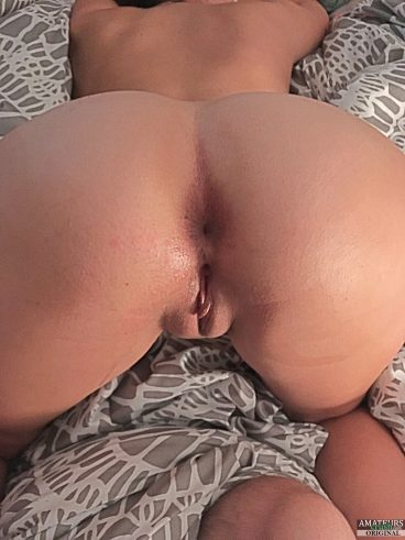Mike's naked wife Taylor bent over and showing her hot rear pussy