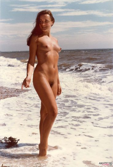Vintage oldskool beach nudes of girl with her hairy pussy with rough waters