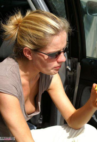 Voyeur down blouse peek in shirt oops nipple outdoor