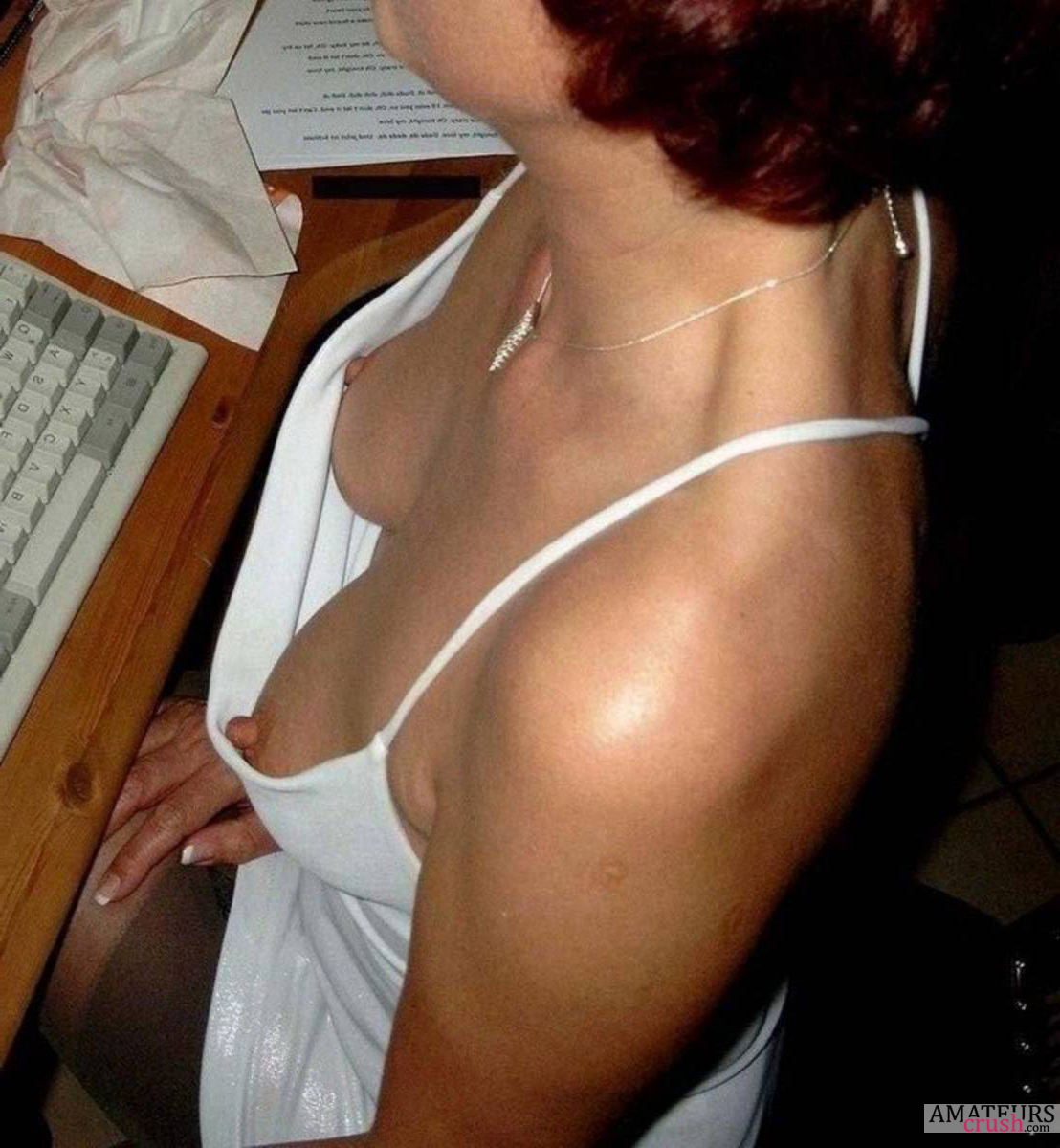 Downblouse tits