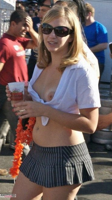 Sexy blonde in public wardrobe boobs oops fail of top