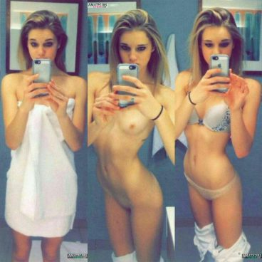 Blonde college girl dress undress nude pic