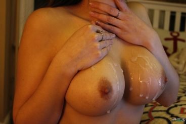Cum covering big natural tits and dripping of MILF
