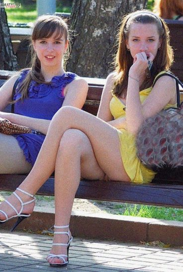 Teen girl in summer dress caught pussy slip in candid voyeur
