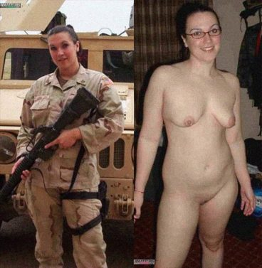 Army girl clothed unclothed pics showing her curvy naked body