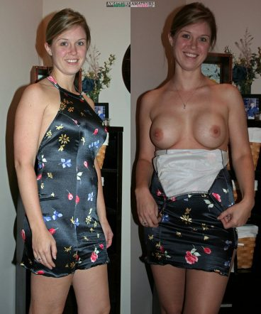 MILF in dressed naked clothed unclothed showing her perfect boobs