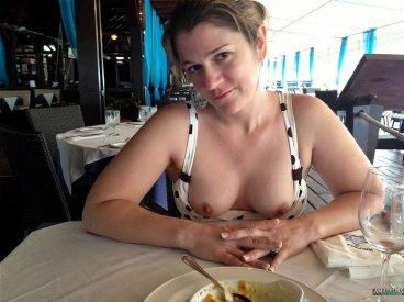 Tits out in restaurant of wife flashing in public pics