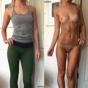Yoga girl in clothed unclothed dressed undressed on off picture fully nude