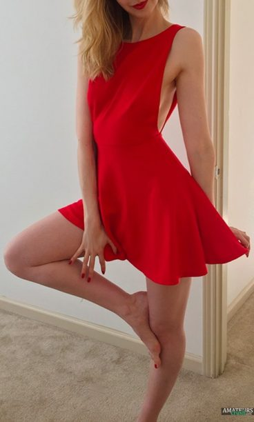 Hot blonde wife in sexy red dress