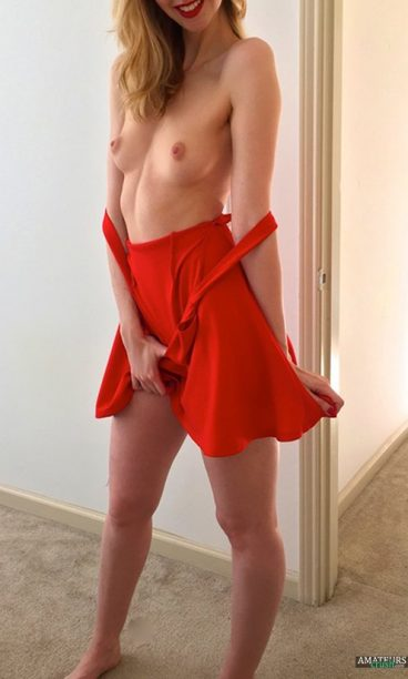 Undressing wife showing tits by lowering her dress