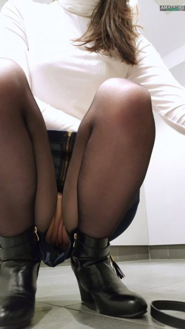 Public upskirt in toilet selfie with no panties