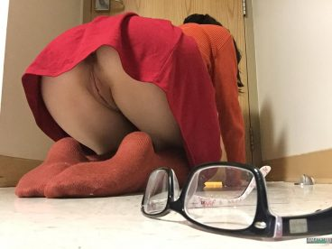 Bent over girl upskirt showing her rear pussy while losing her glasses in amateur photos