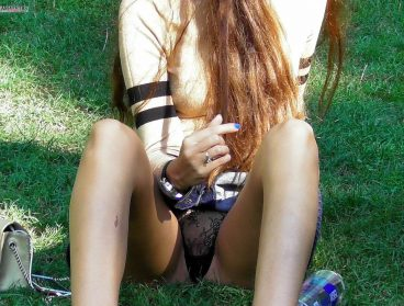 Pussy slipping with see through panties in park