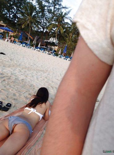 Rear sexy vagina slip from behind on beach candid voyeur