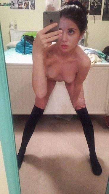 Pic of bent over naked teen amateur in black socks