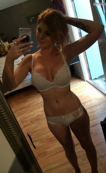 Elissa in white lingerie selfie picture