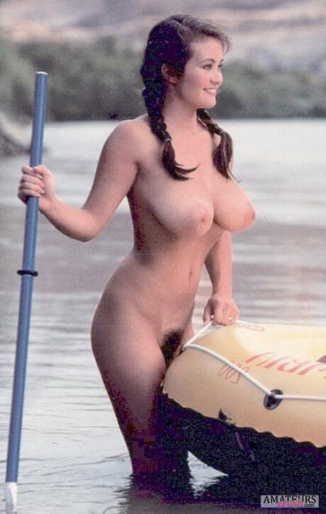 Oldskool vintage torpedos of busty curvy babe with her rubber boat