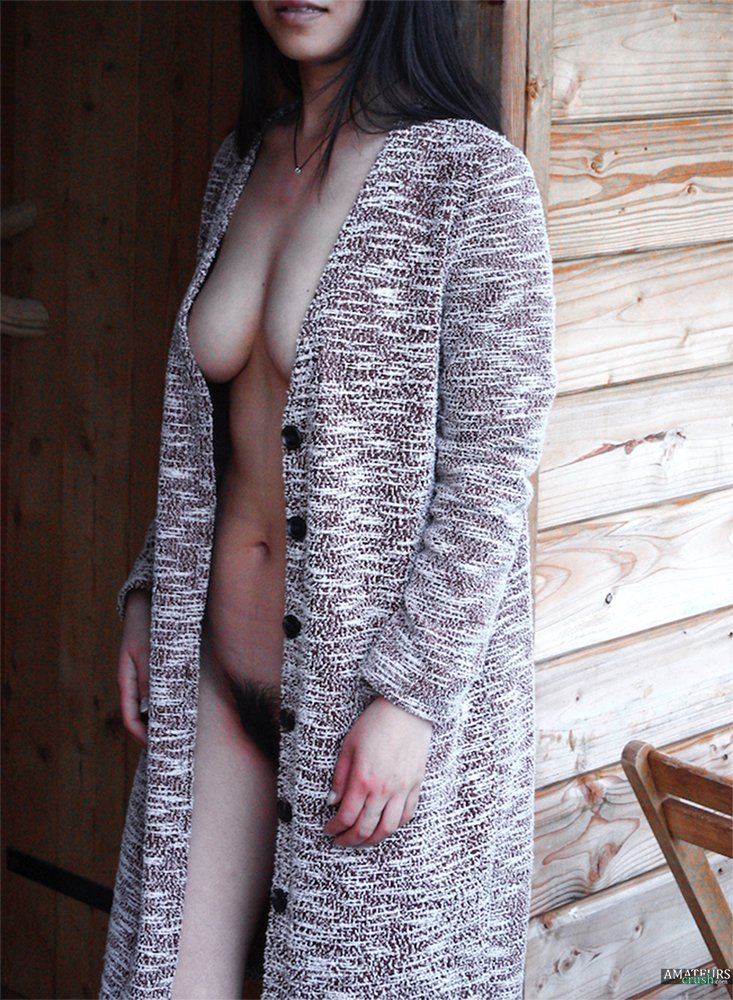 Sexy Julia hairy Chinese girlfriend with her robe open outdoor