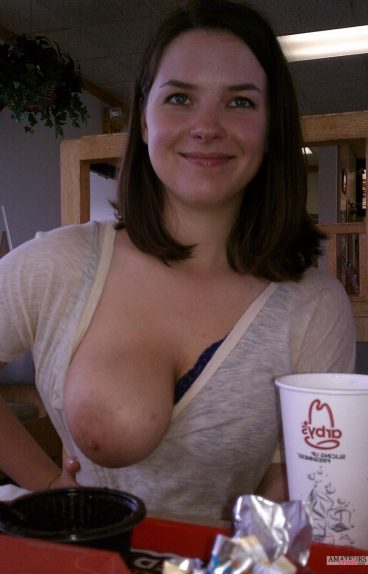 Girls boob out in Arbys public voyeur