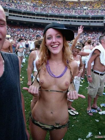Hot ginger girl flashing public tits in stadium during a victory