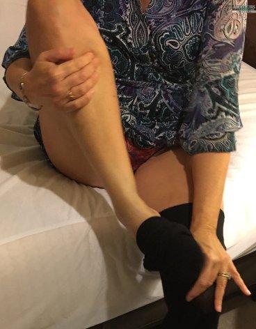 Hot mature wife Liz Green in red panties FI
