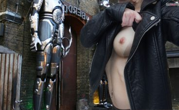 Hot British girl public tits selfie in Camden London