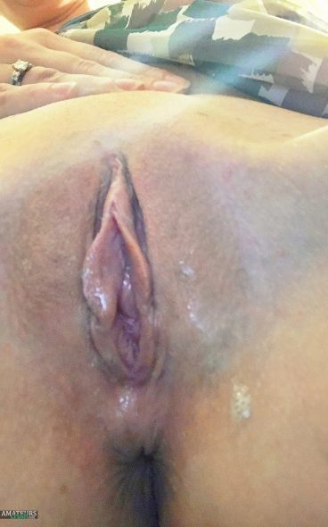 Sticky mess of girls drool in wet pussy selfshot pic