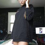 Hot nerdy teen setting her glasses straight bottomless FI