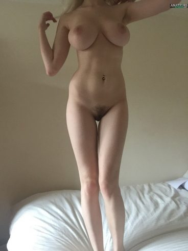 Big tits blonde nudes Tumblr girl standing on bed