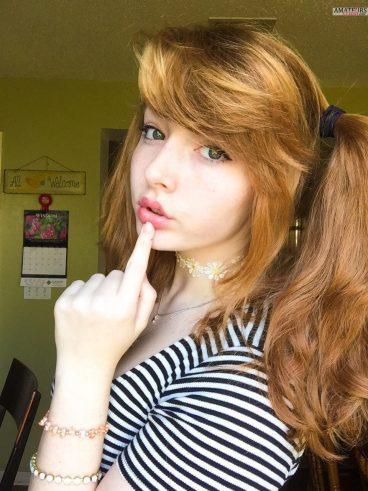 Super sexy redhead cutey dirtbagwife Tumblr pic in striped shirt