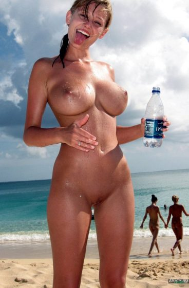 Amazing hot girl naked beach pic sticking her tongue out