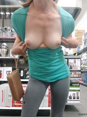 Beautiful tits out inside store public voyeur picture
