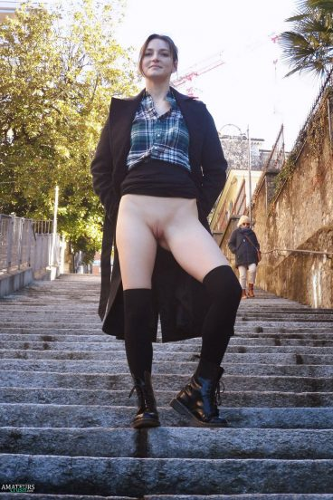 Public pussy upskirt no panties on stairs flasher