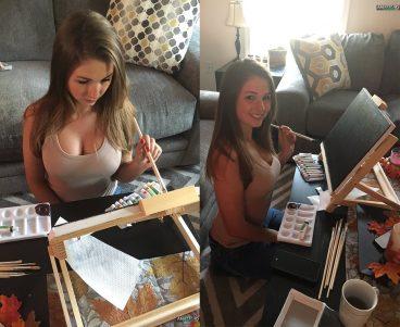 Creative sweet teen camgirl Lexi painting photo