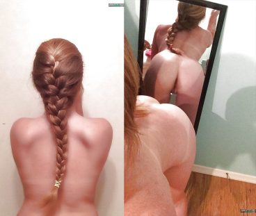 Cute young naked hot girlfriend from behind bent over selfie