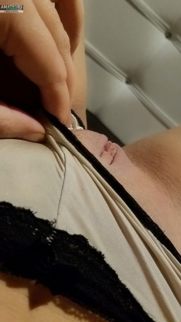 Hot young bald Tunisia pussy selfie tease panties aside