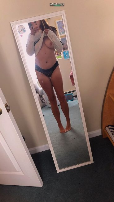 Teasing amateur married babe boob mirror picture