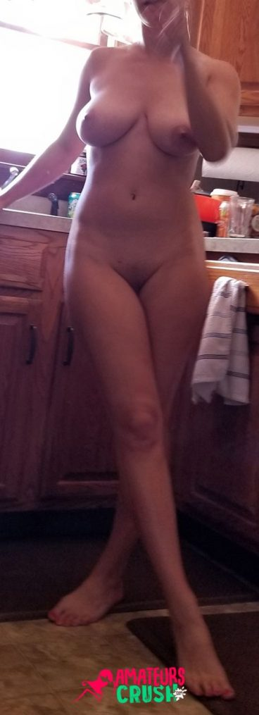 Real hot naked big tits wife in kitchen nude