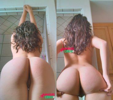Hot big beautiful natural fat ass babe from behind teasing