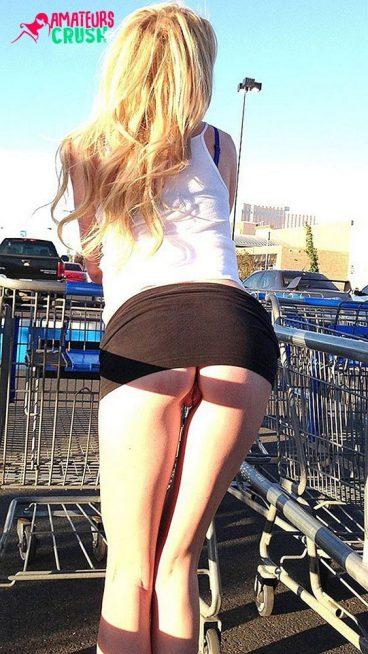 Risky tight ass pussy upskirt pantyless tease in public