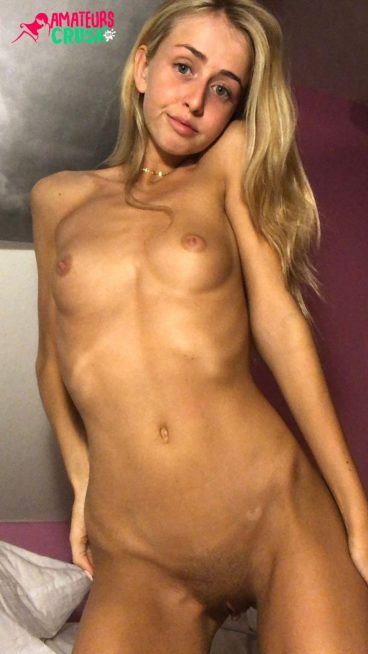 Sexy cute angelic blonde girl naked tits pussy