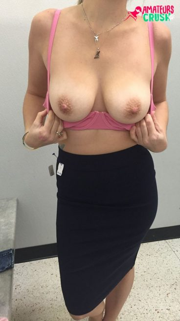 Busty naked big mom boobs out bra dressingroom tease