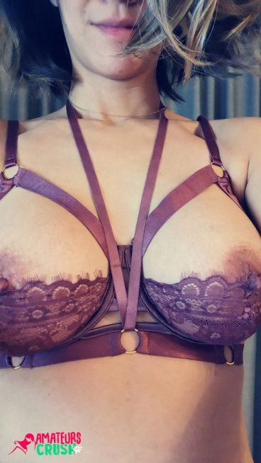 Hot nude MILF nipples exposed teasing wife selfie