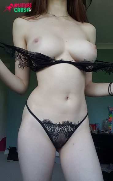 Sexy lingerie bigtits out babe tease