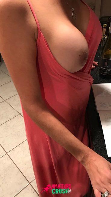 Risky bar tits out dress voyeur wife tease