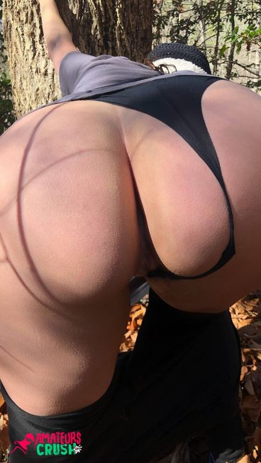 Thick nude butt behind forest hike break bent over